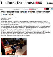 The Press Enterprise - Water District uses song and dance to teach water conservation, March 5, 2010